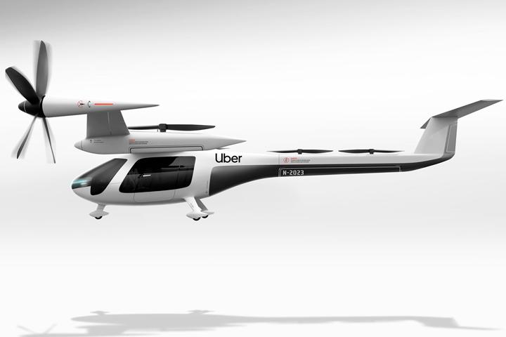 Imagem em 3D de projeto de carro voador da Uber