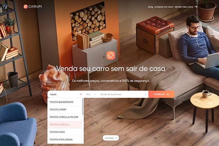 Tela do website Carupi mostrando formulário de preenchimento do modelo de carro a ser vendido