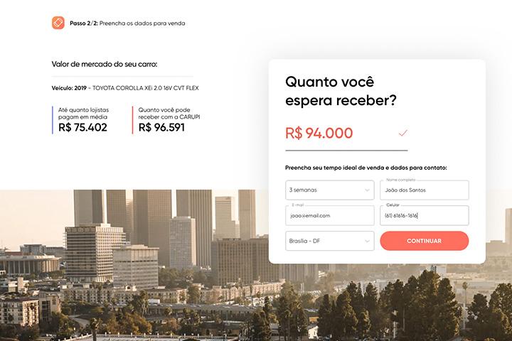 Tela do website Carupi mostrando sistema que compara preços de venda