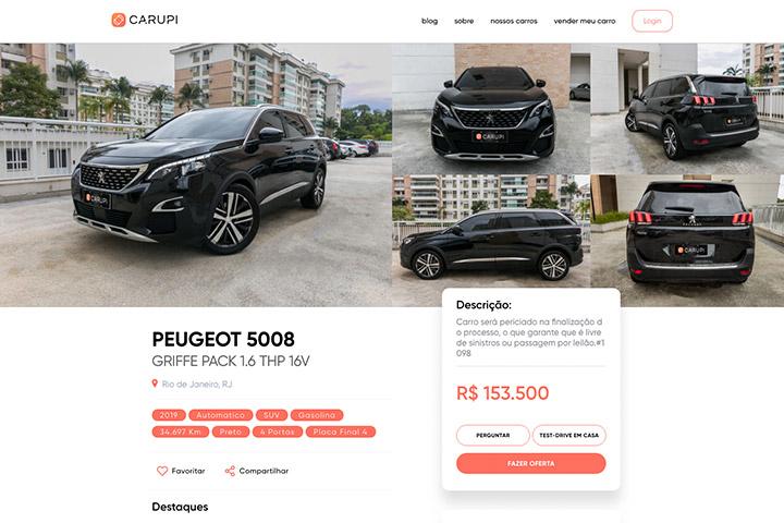 Tela do website Carupi mostrando veículo à venda com fotos e detalhes