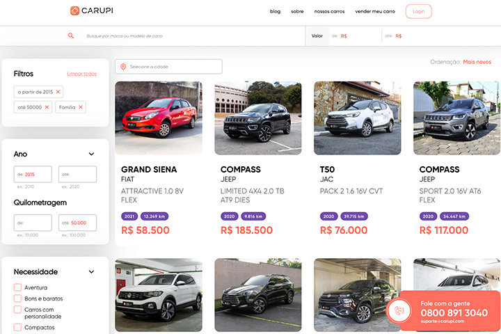 Tela do website Carupi mostrando o catálogo online de carros na plataforma de compra e venda online