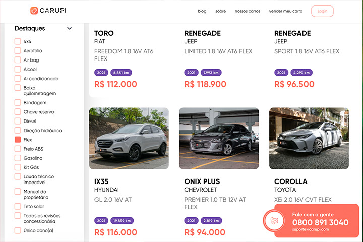 Tela do website da Carupi mostrando carros e opções de filtro de busca ao lado