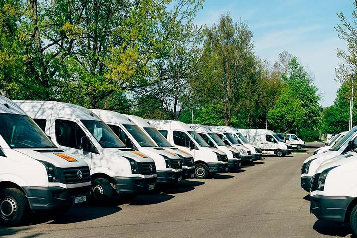 Pátio de empresa com frota de vans estacionada lado a lado e árvores ao fundo