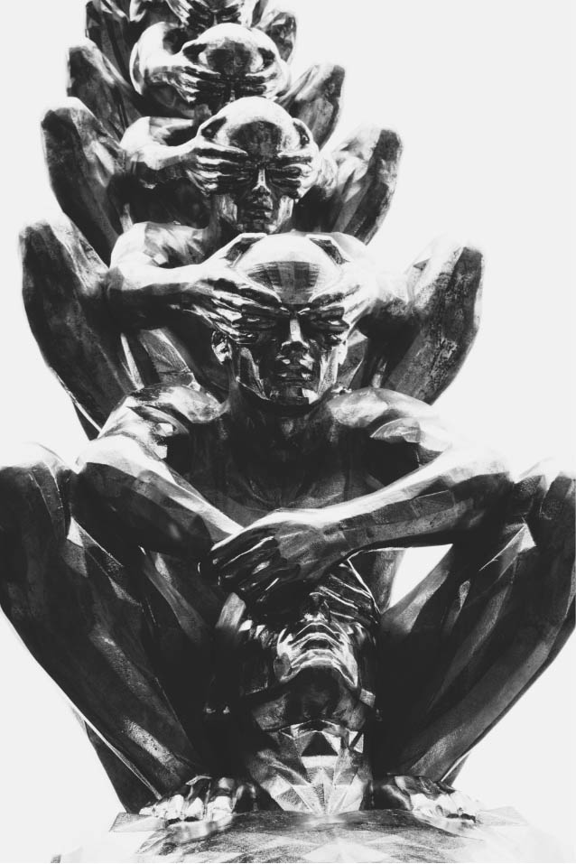 An abstract, black and white art piece of figures, standing in a line, each covering the eyes of the figure in front of them.