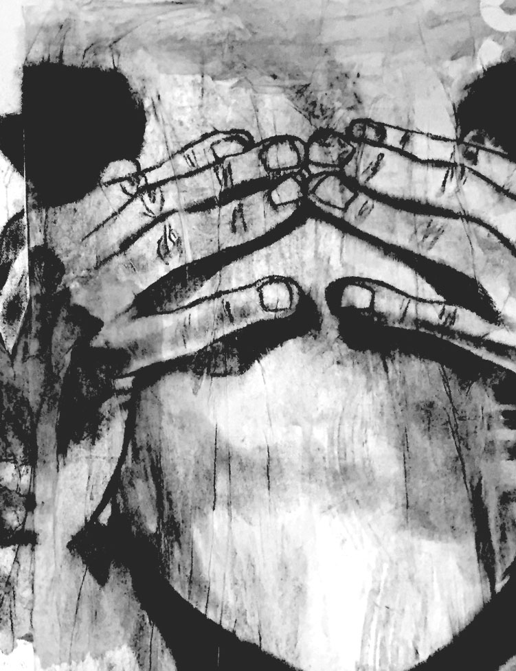 An abstract, black and white art piece of hands covering a stark and featureless face.