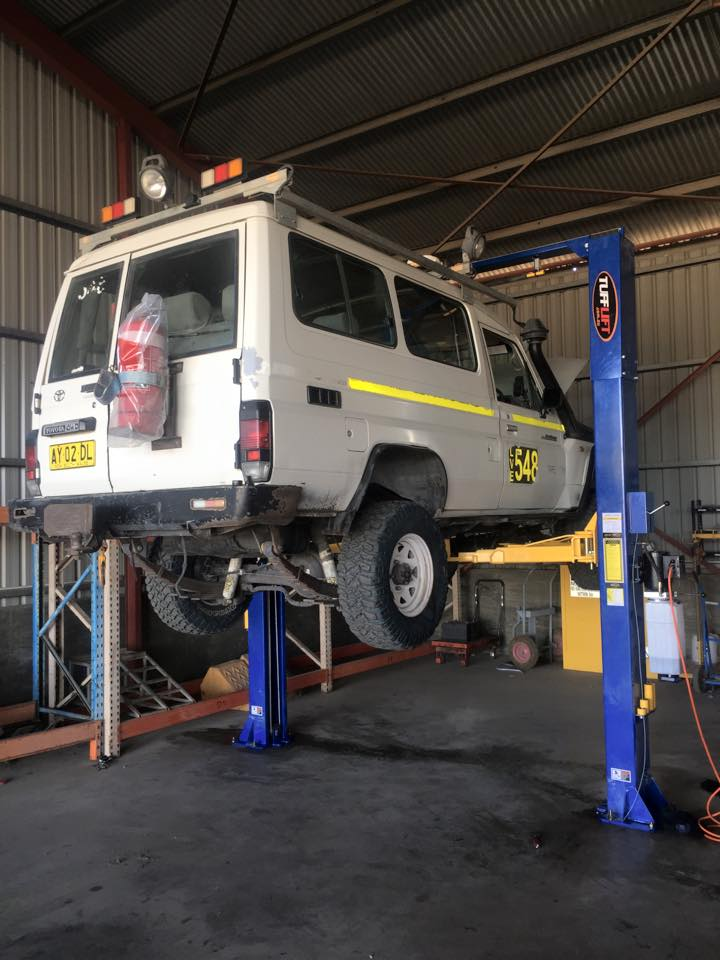 Light Vehicle lifted at Azetech shop for repair