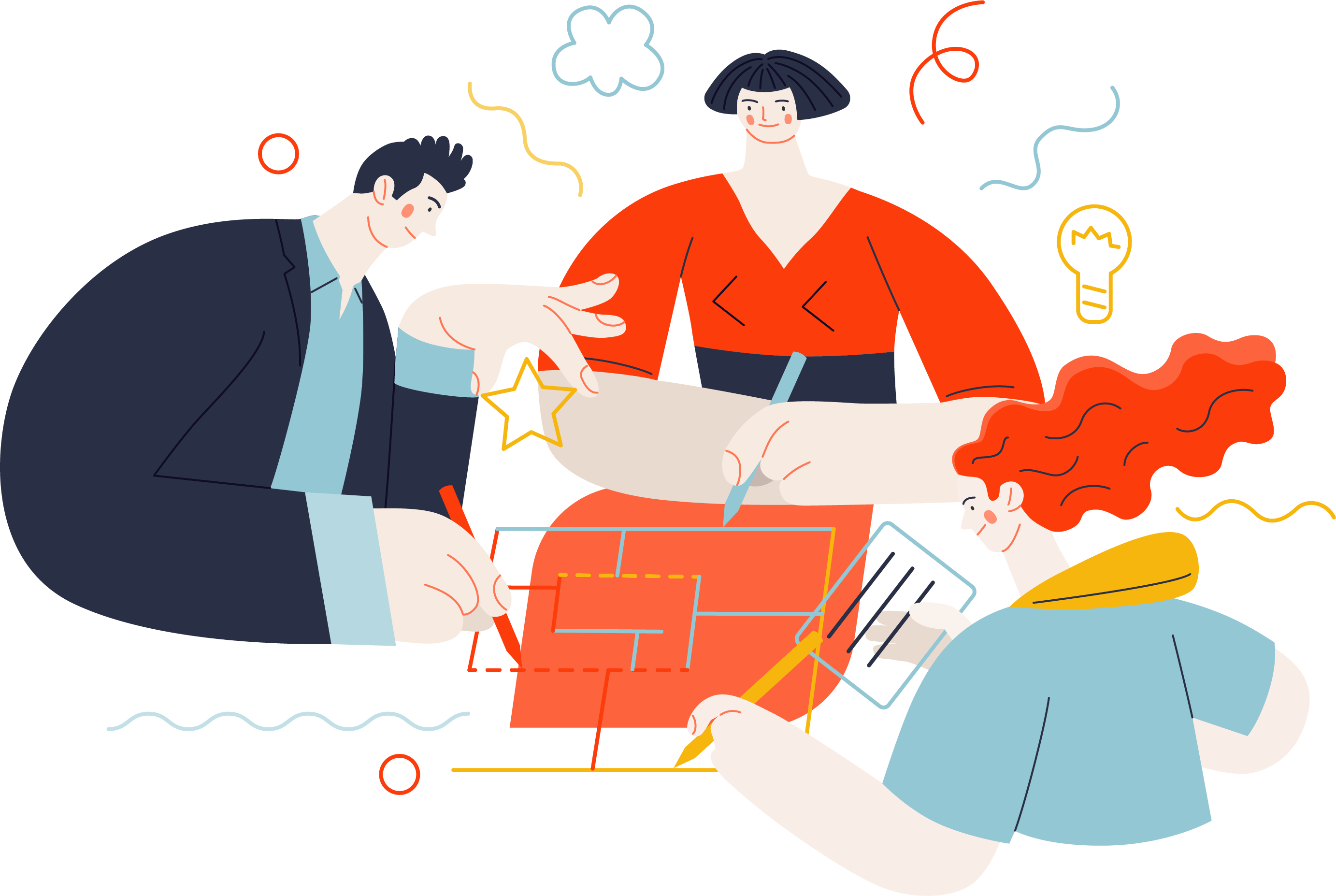 An Illustration of a group of people working on some plans