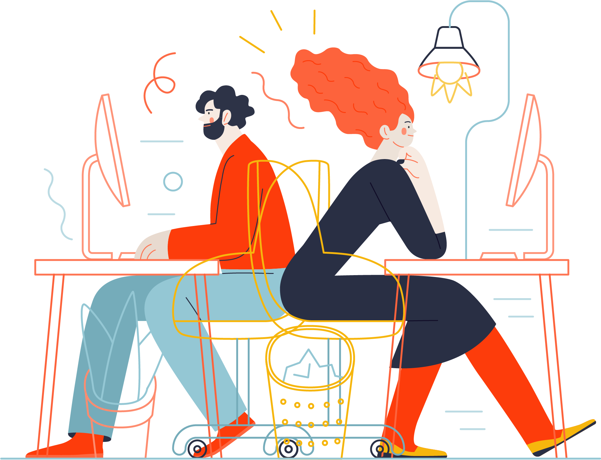 Illustration of two people working away at their desks