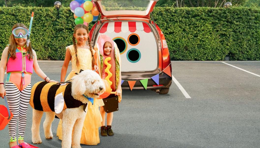 Three kids with a dog.