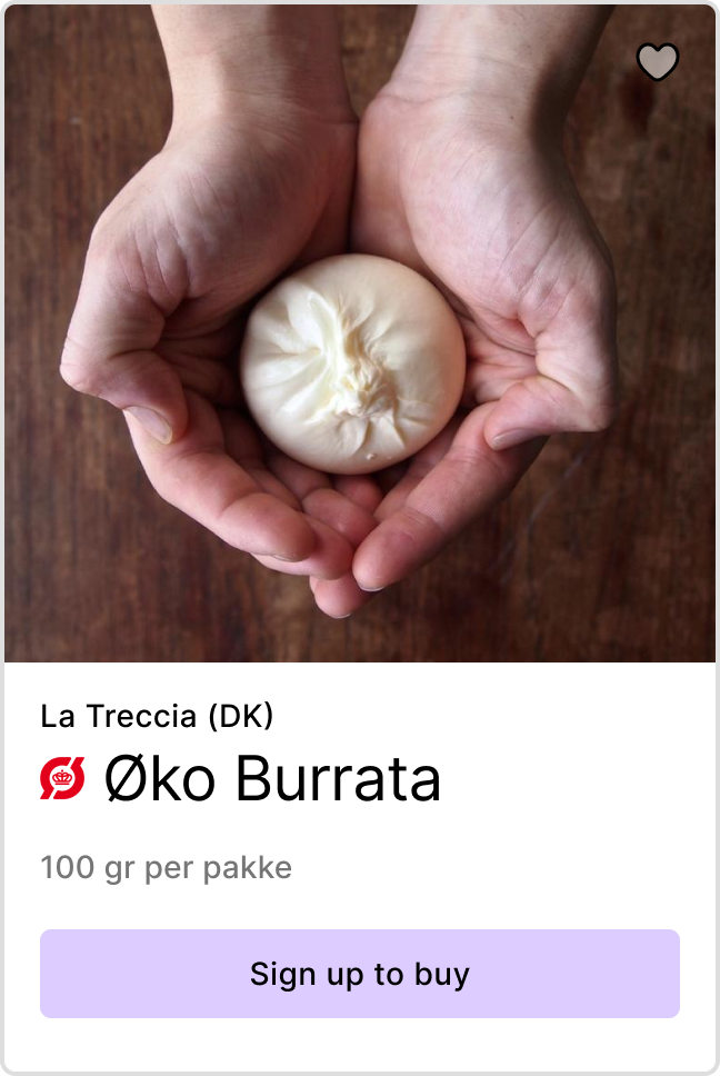 Product preview of burrata from La Treccia - Link to sign up