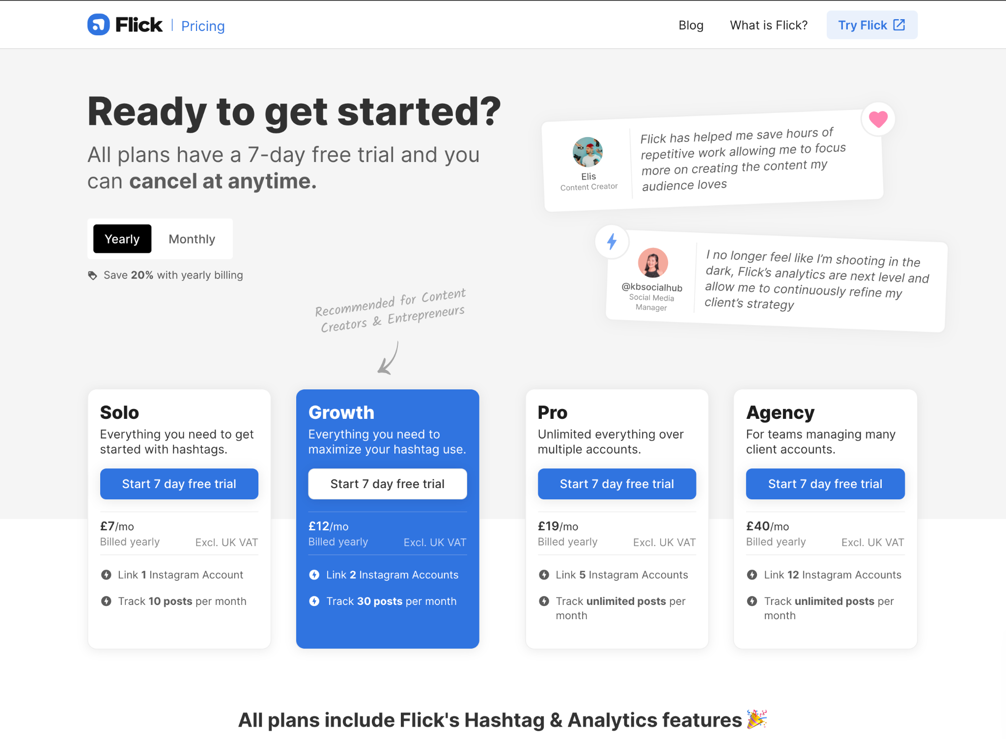 Flick's pricing plans