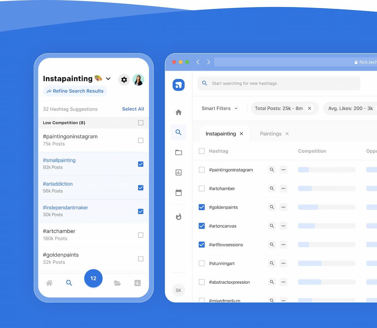 flick's mobile and desktop app