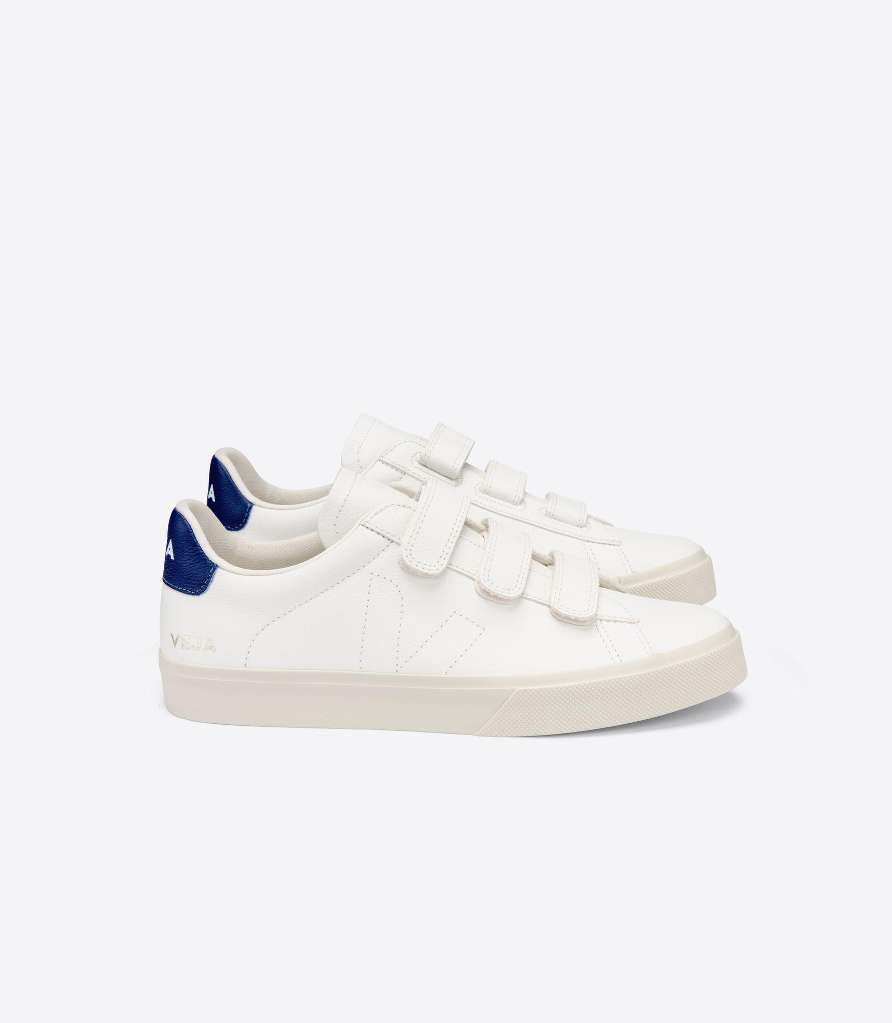 VEJA - Recife - white/cobalt blue velcro sneaker