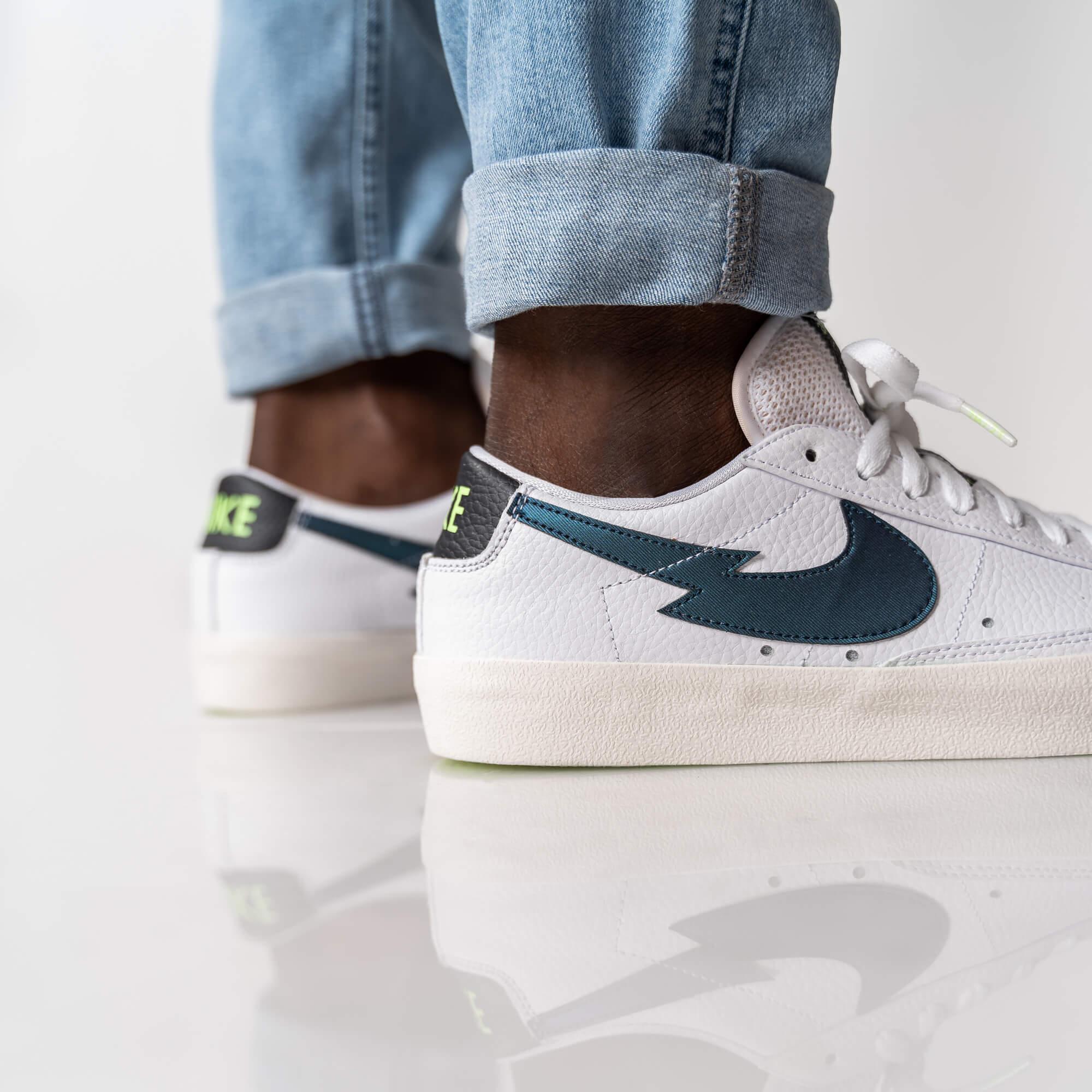 "Nike Blazer Low - ""Lightning Bolt Swoosh"" - white/aquamarine/lime glow/off noir - DJ6895-100"