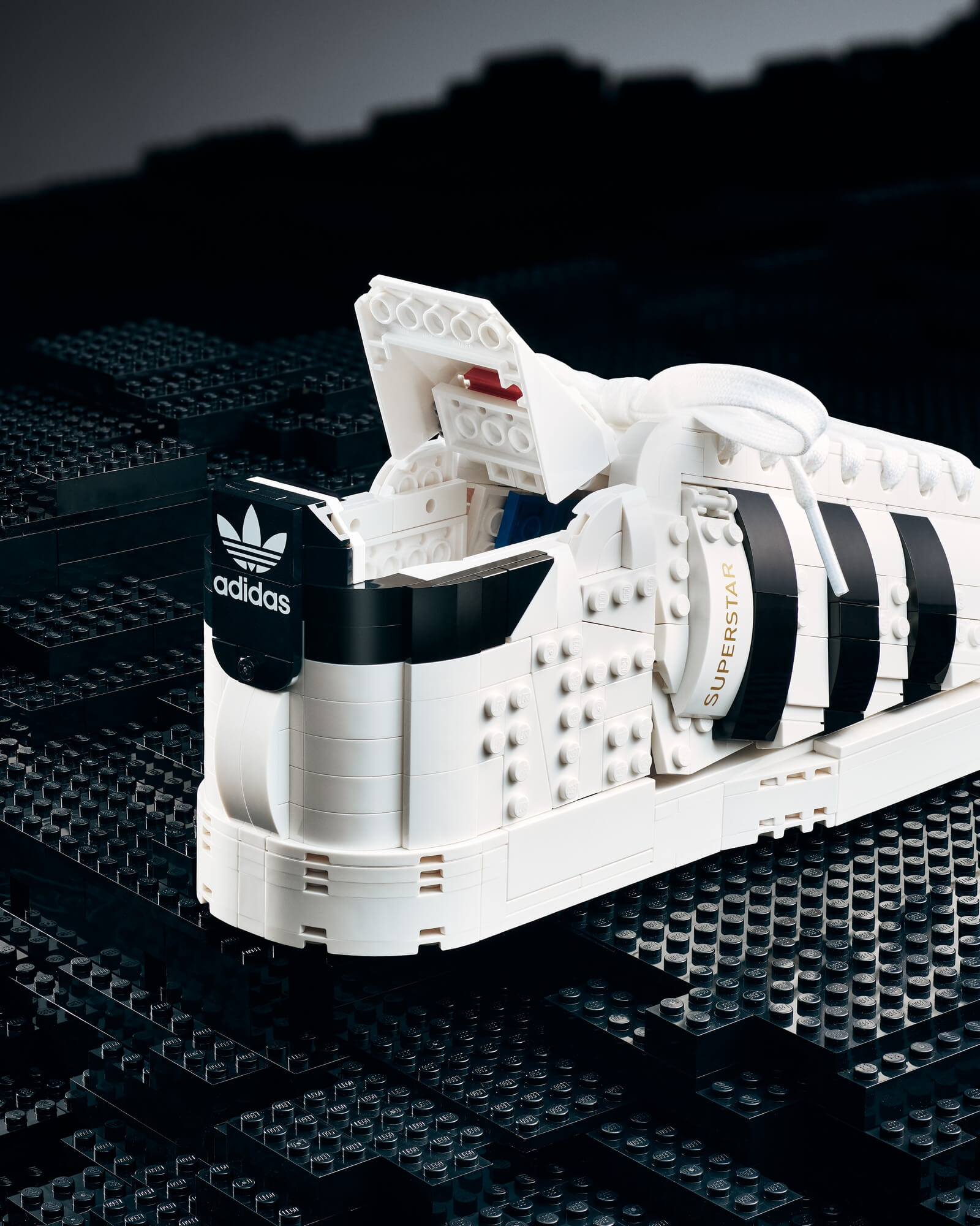 Buildable LEGO x adidas Superstar sneaker detail photo
