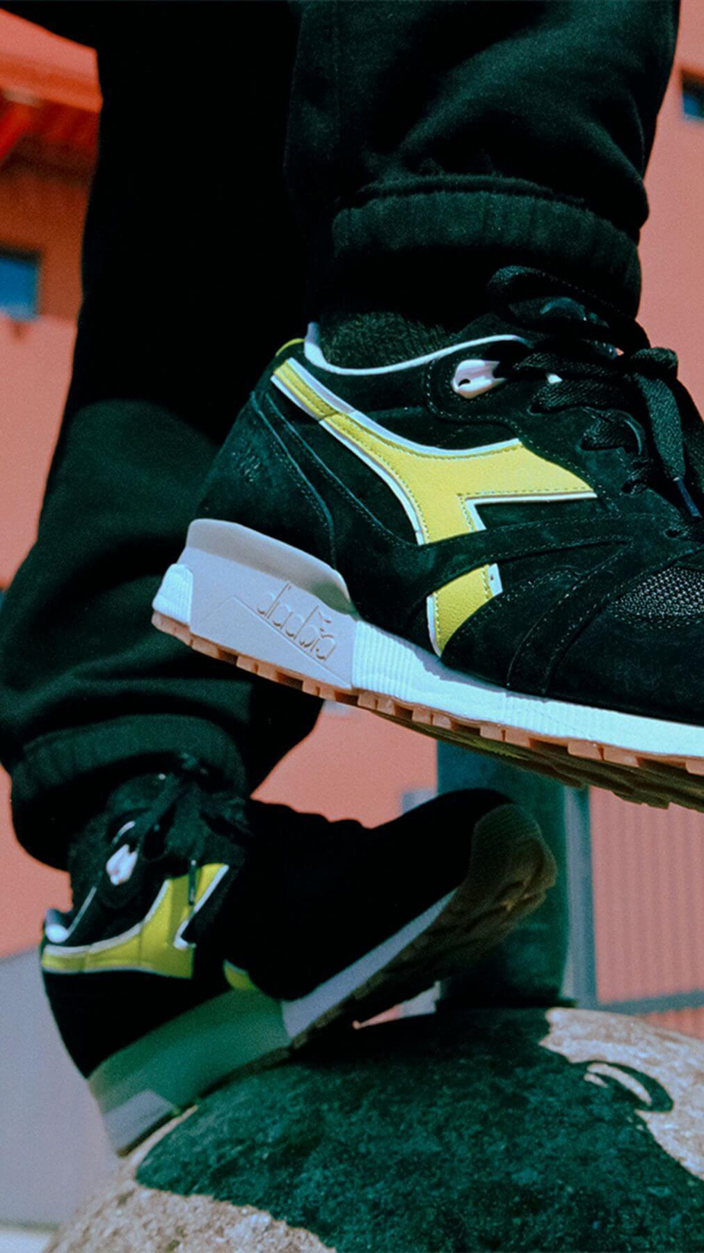 """on feet photo of the Diadora x Patta - N9000 - """"Game On"""" - black/yellow - 501-177683-80013"""