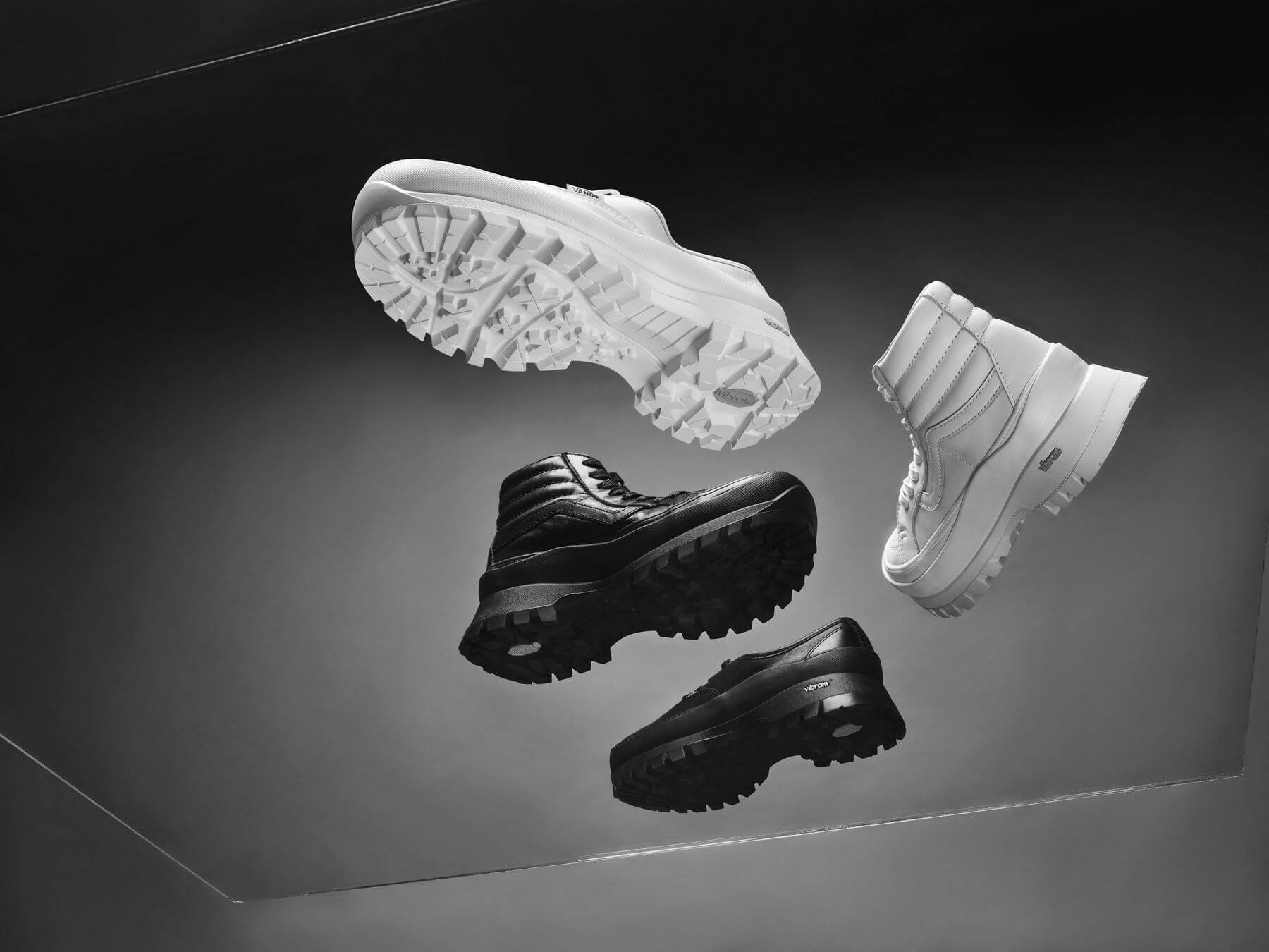 sneaker collection drop - Vault by Vans x Vibram - Collection feat. Sk8-Hi &UAAuthentic - black & white