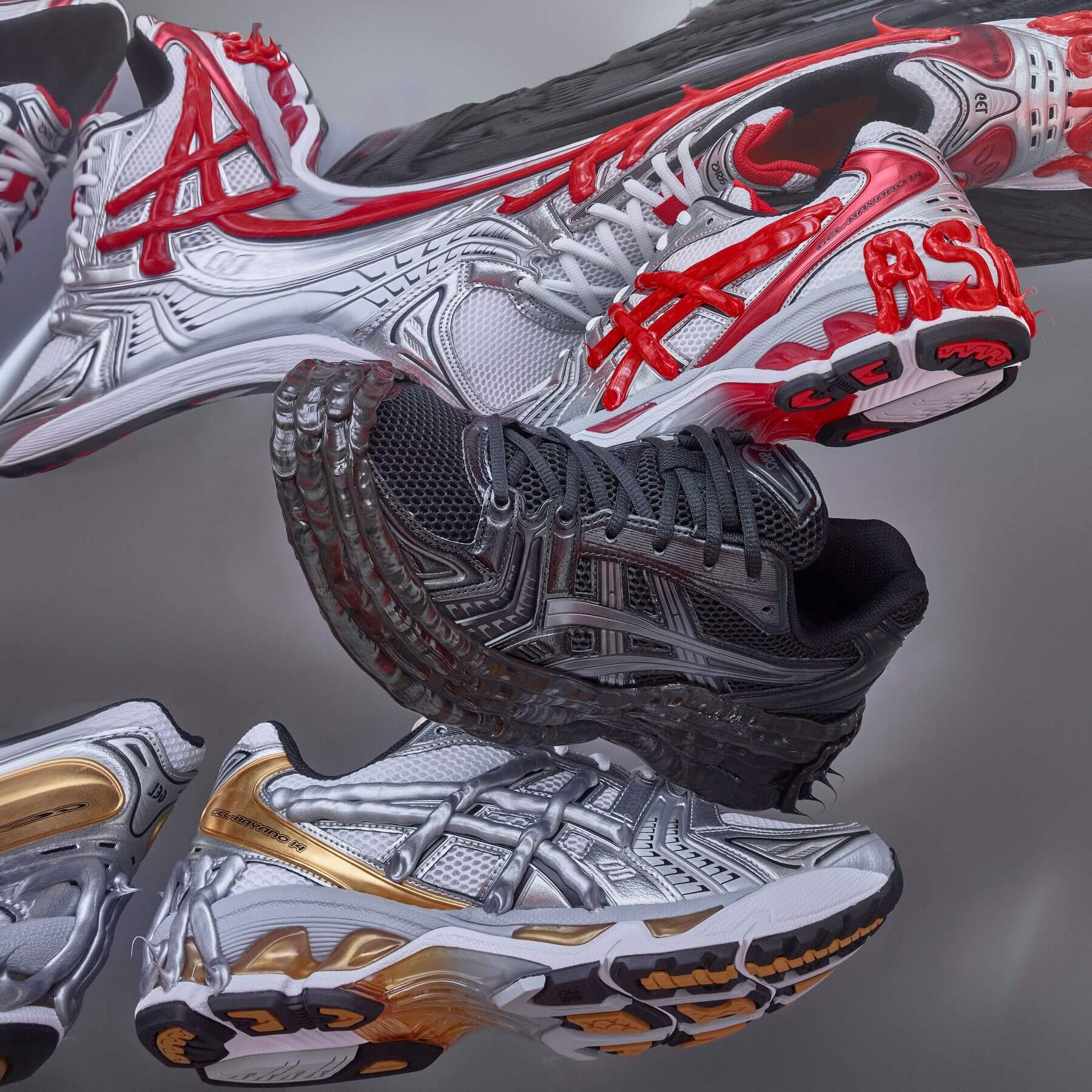 ASICSx Dennis Buck - Gel Kayano 14 collage - red black and yellow