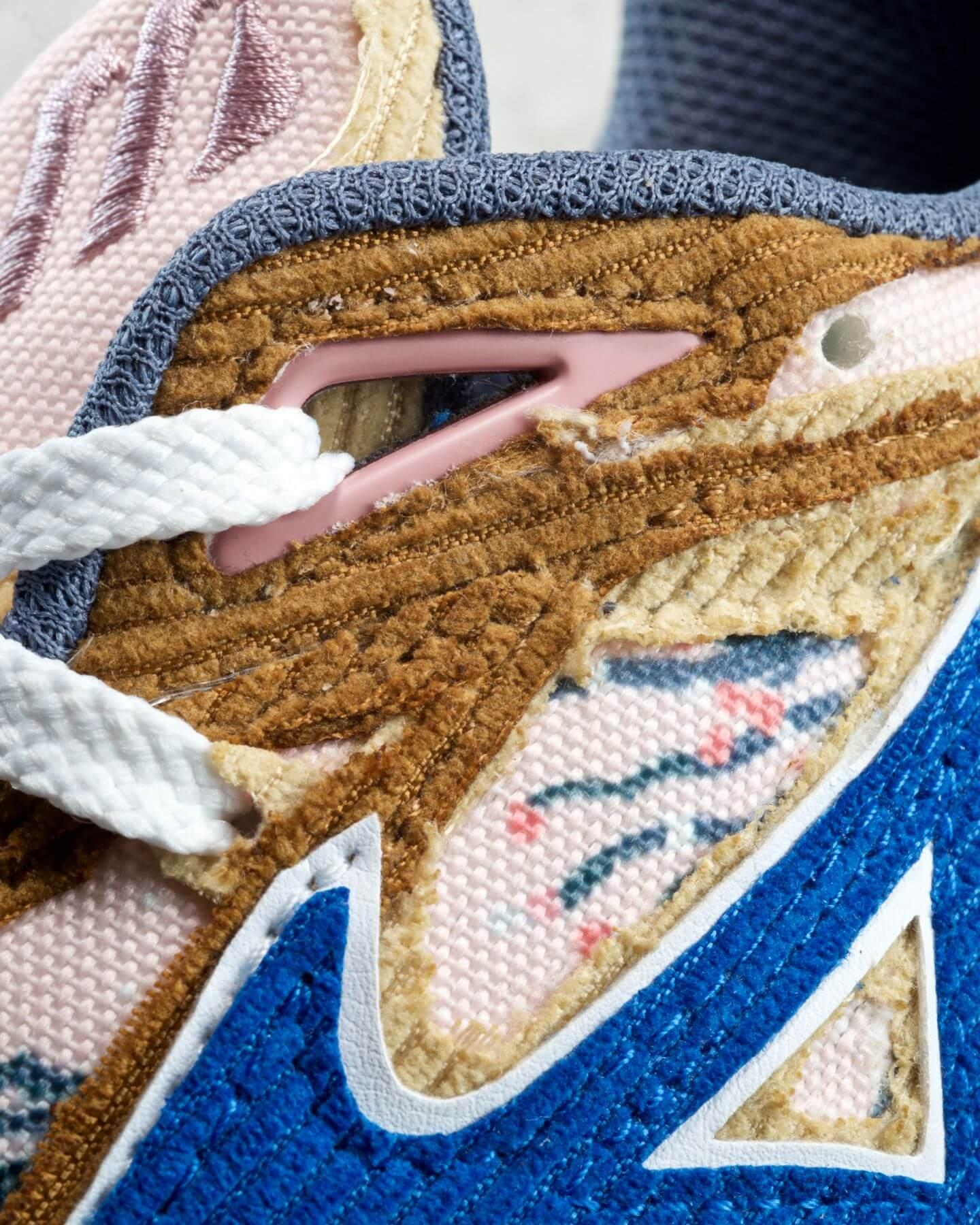 close up - cord upper - Mizuno x Shinzo Paris - Contender - brown/blue - cherry blossom