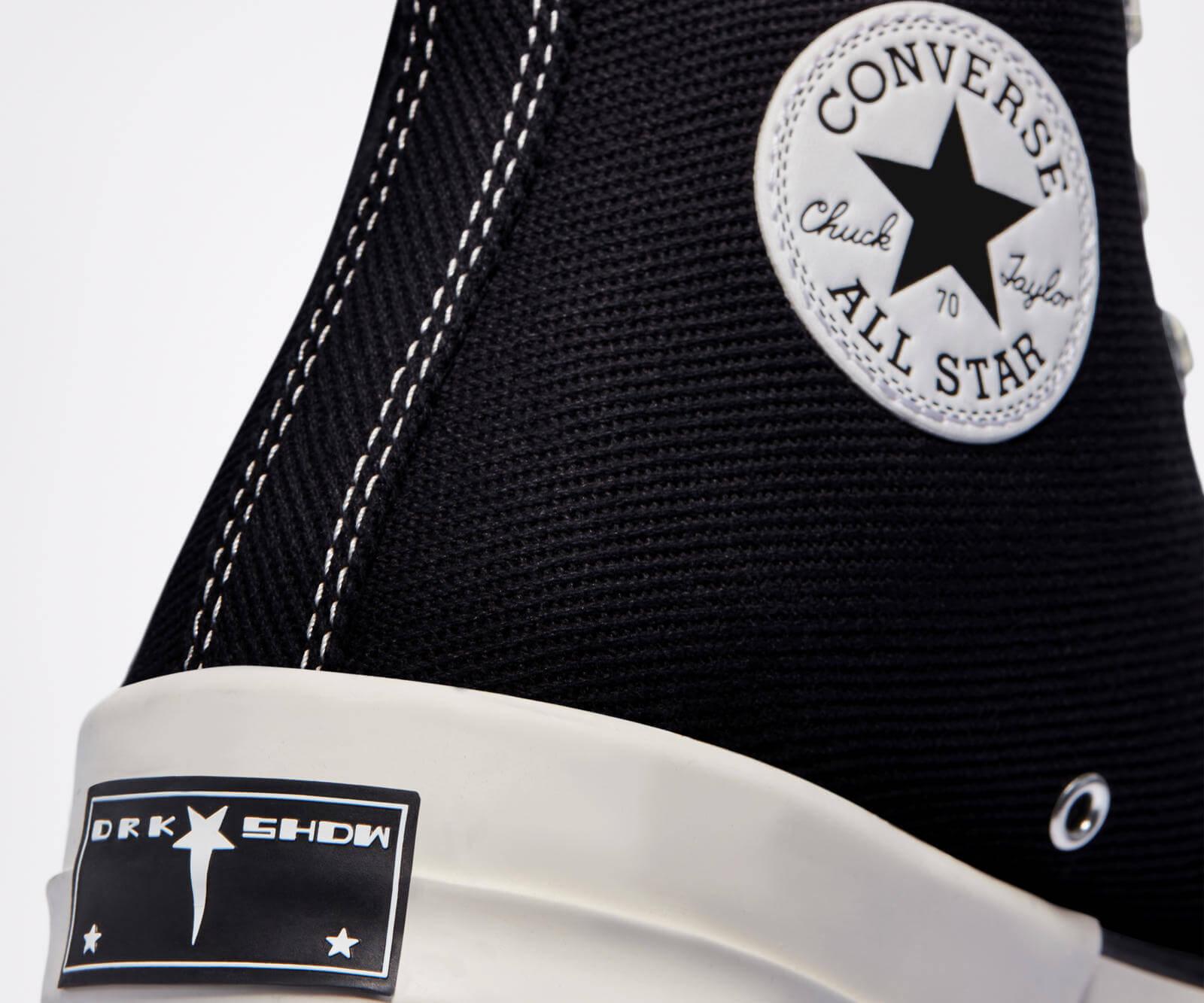 heel details of the Converse x Rick Owens - DRKSHDW - TurboDark Chuck 70 High