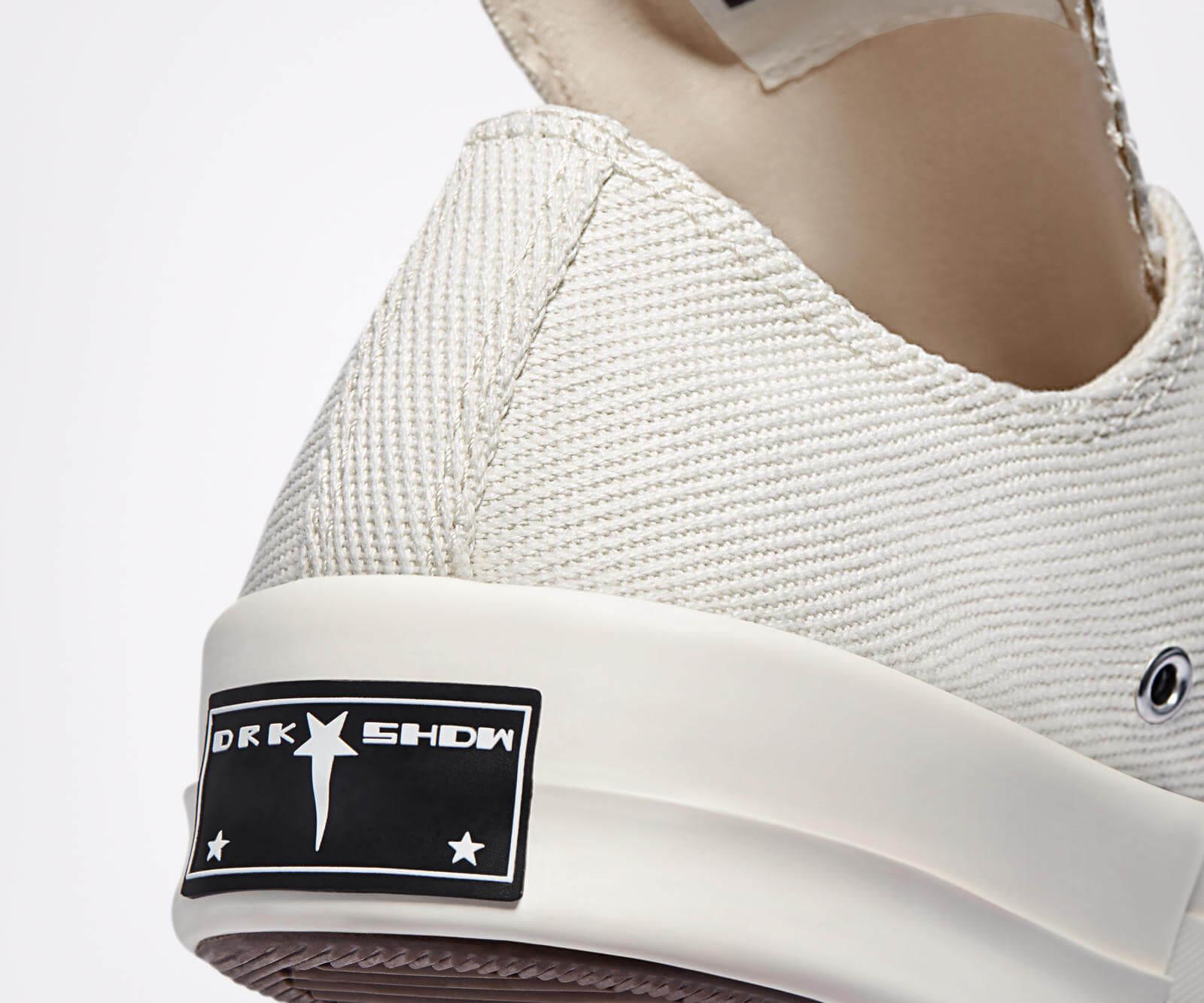 heel details of the Converse x Rick Owens - DRKSHDW - TurboDark Chuck 70 Low - white