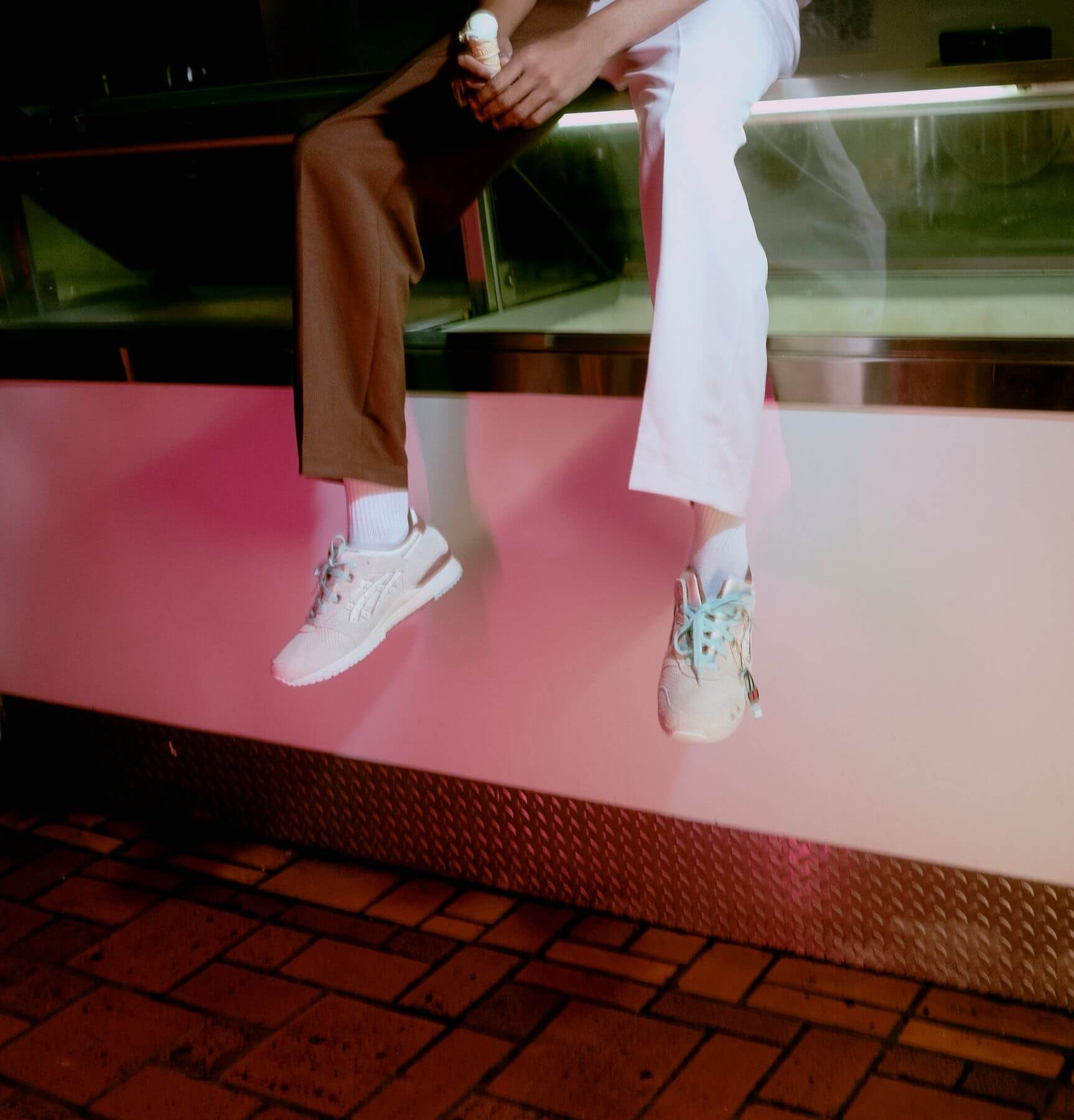 "on feet - ASICSSportStyle x Nice Kicks - Gel-Lyte III - ""Nice Cream"" - ivory/ivory - 1201A460-750"