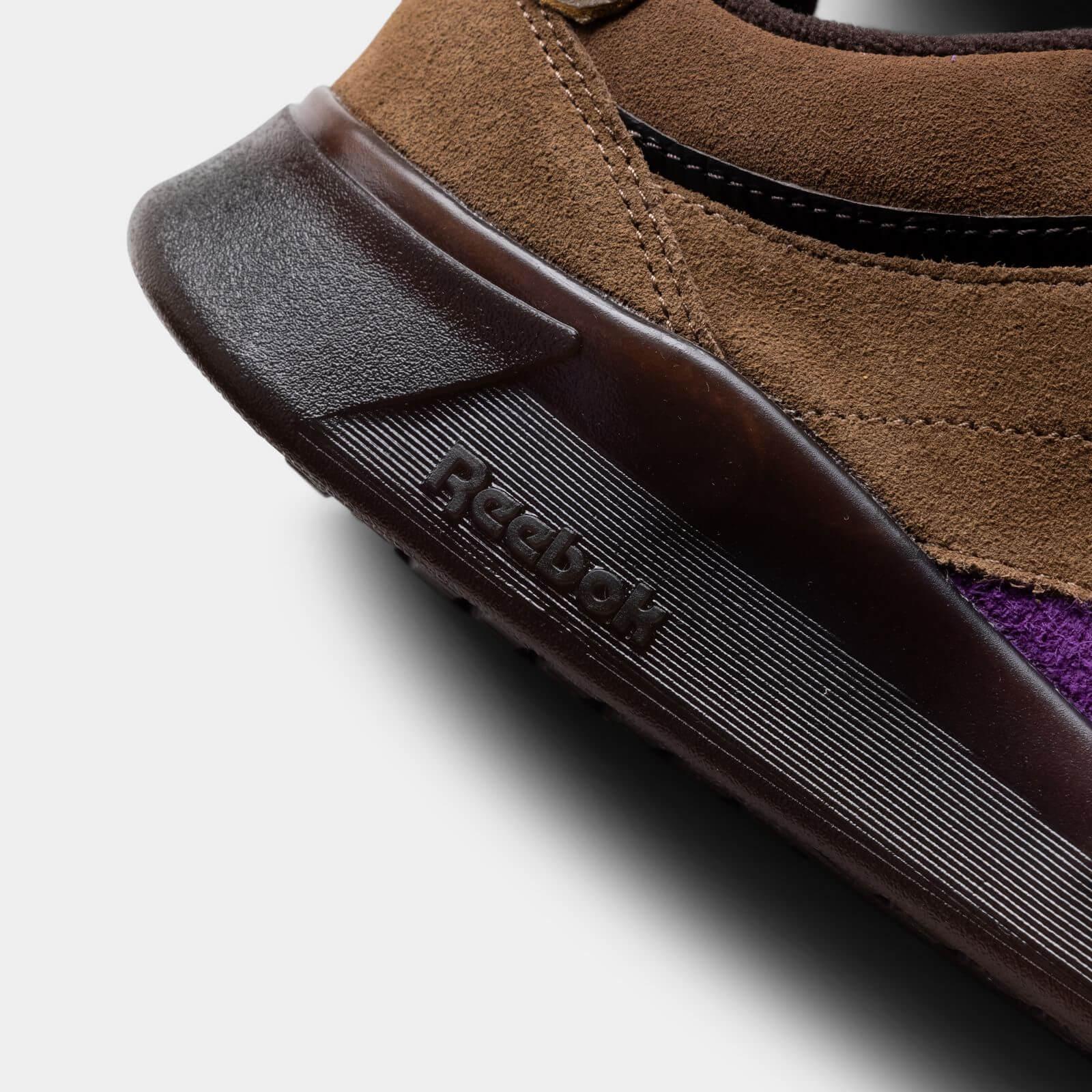 midsole heel details - Reebok x Bodega - Club C Legacy - just brown/extreme purple/earth - H03360
