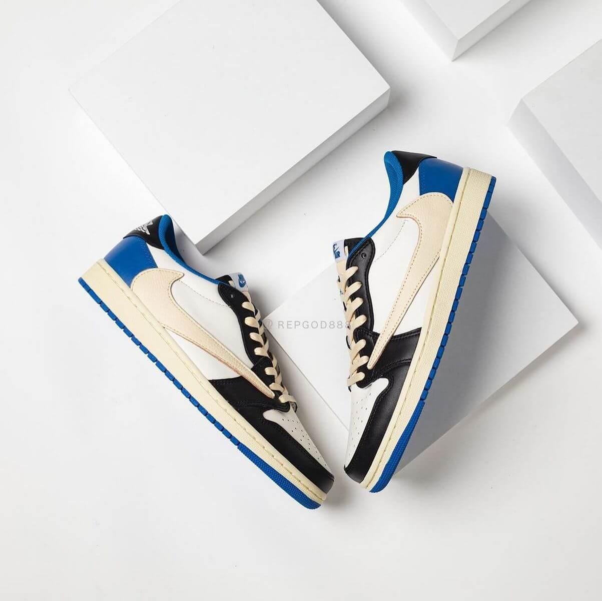 Nike x Travis Scott x Fragment Design - Air Jordan 1 Low - white/black-royal-sail - DM7866-140