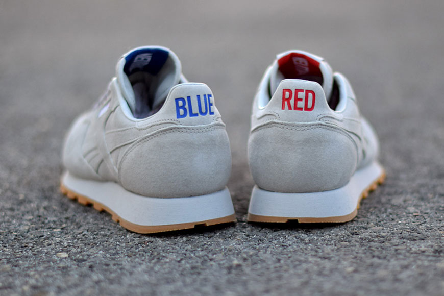 """blue and red - heel details of the Reebok x Kendrick Lamar - Classic Leather - """"Red and Blue"""" - AR0586"""