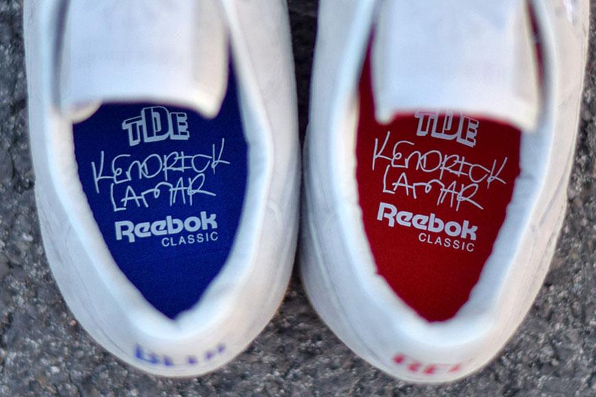"insole details TDE Kendrick Lamar Reebok x Kendrick Lamar - Classic Leather - ""Red and Blue"" - AR0586"