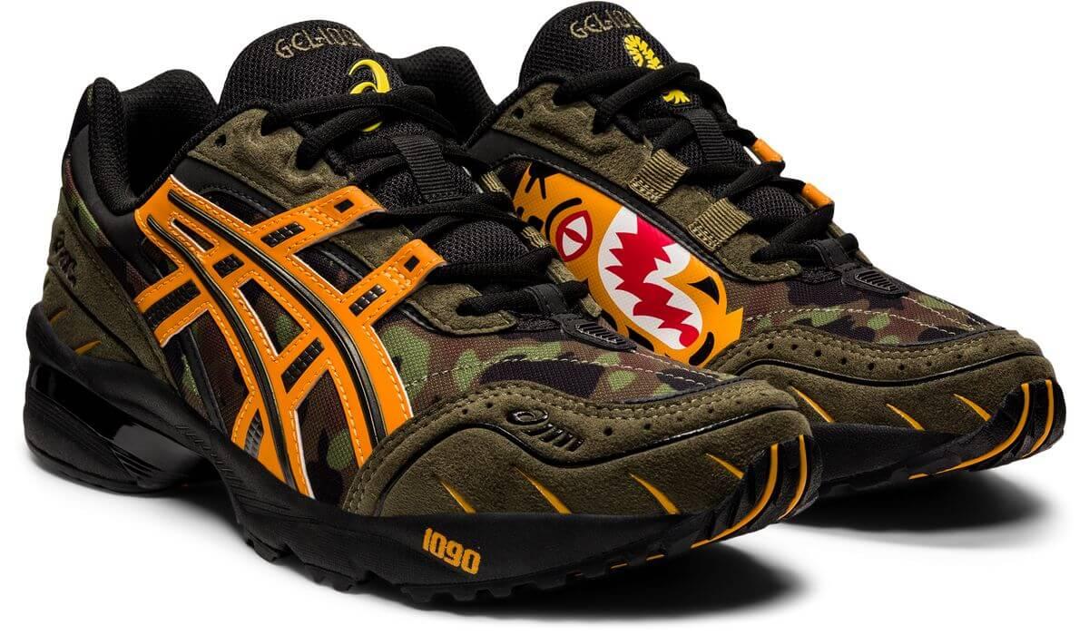 "ASICSx BAPE (A Bathing Ape) - GEL-1090 - ""Tiger Camo"" - aloe/bengal orange - 1023A061-200"