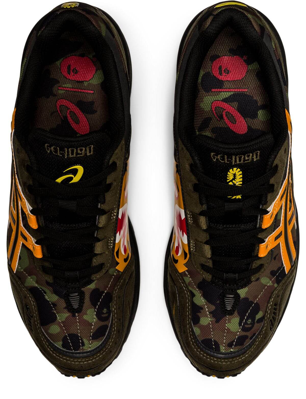 """from top and insole - ASICSx BAPE (A Bathing Ape) - GEL-1090 - """"Tiger Camo"""" - aloe/bengal orange - 1023A061-200"""