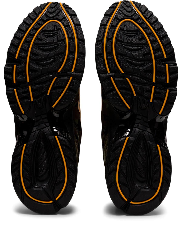 "ASICSx BAPE (A Bathing Ape) - GEL-1090 - ""Tiger Camo"" - aloe/bengal orange - 1023A061-200 from below / outsole"