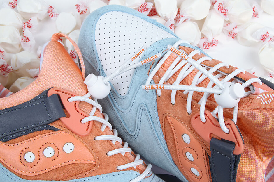 """inspired by candies: Saucony x Premier - Grid 9000 - """"Street Sweets"""" - blue/white/peach - S70265-1"""
