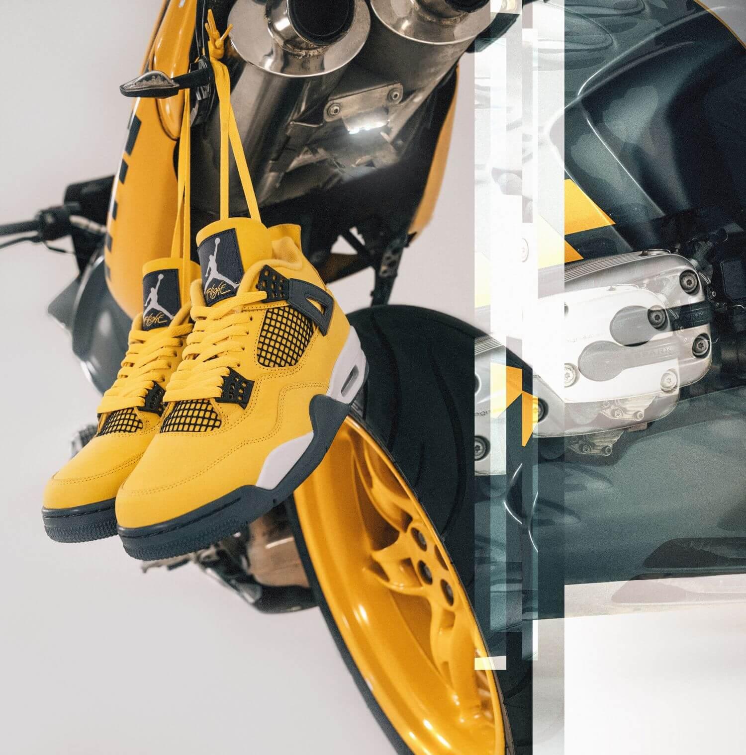 """Jordan Motosports - Nike Air Jordan 4 Retro - """"Tour Yellow"""" - tour yellow/dark blue grey/white - CT8527-700"""