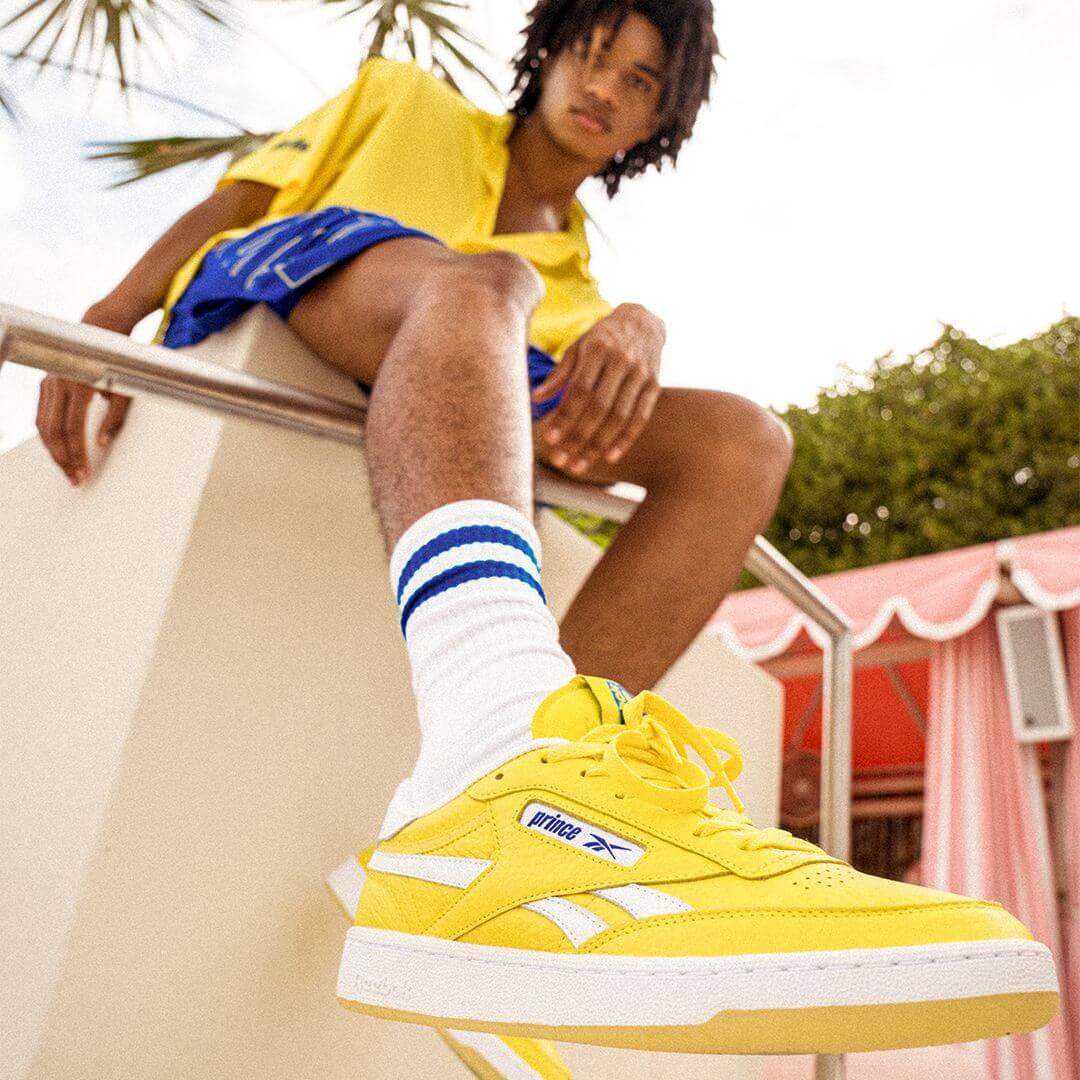 on feet - Reebok x Prince - Club C Revenge - stinger yellow/footwear white/bright cobalt