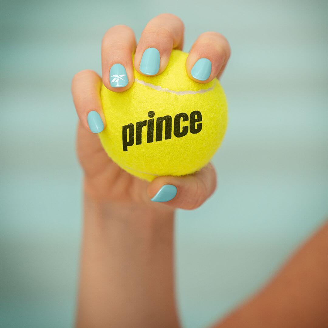 Reebok and Prince collab - Prince yellow tennis ball / reebok logo on finger nail polish