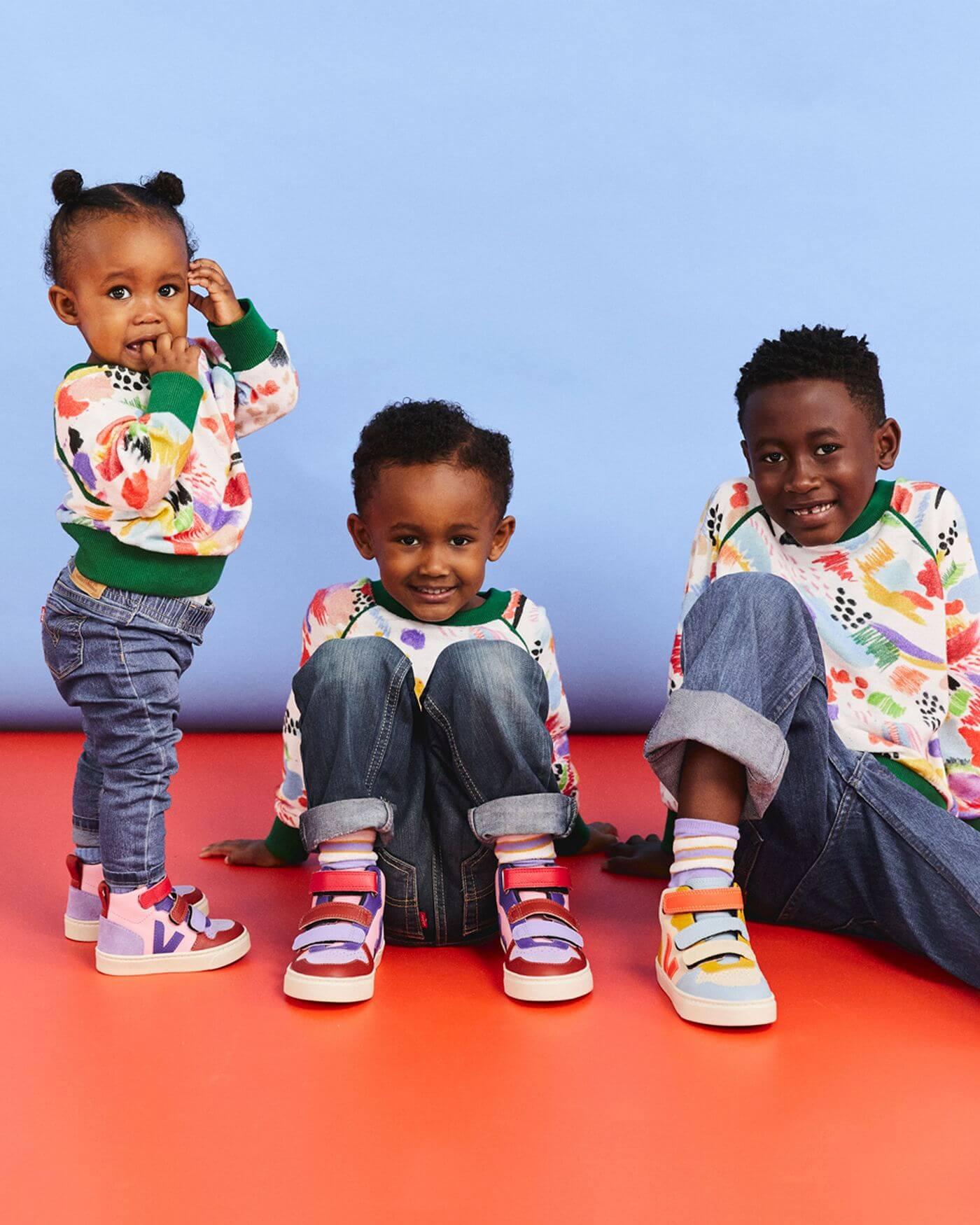 VEJA for KIDS - VEJA x Make My Lemonade - V-10 Mid Kinder Sneaker - Sable & Guimauve