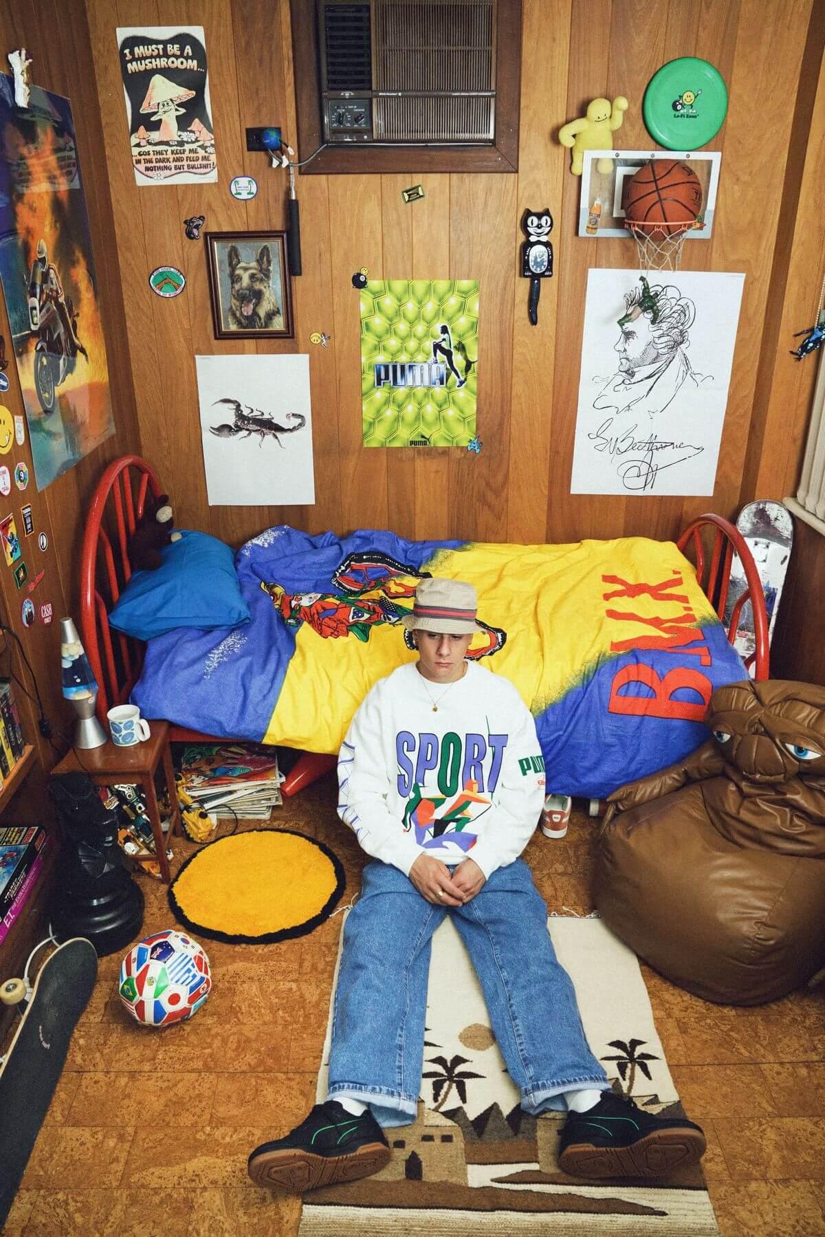 80er 90er jahre jugendzimmer - PUMA x Butter Goods - Slipstream und Basket Vintage und Apparel Kollektion