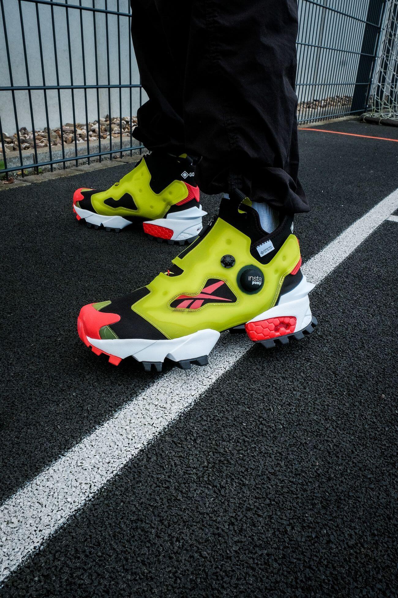 on feet - Reebok - Insta Pump Fury OG Hi Gore-Tex Infinium - black/acid yellow/vector red - S23866