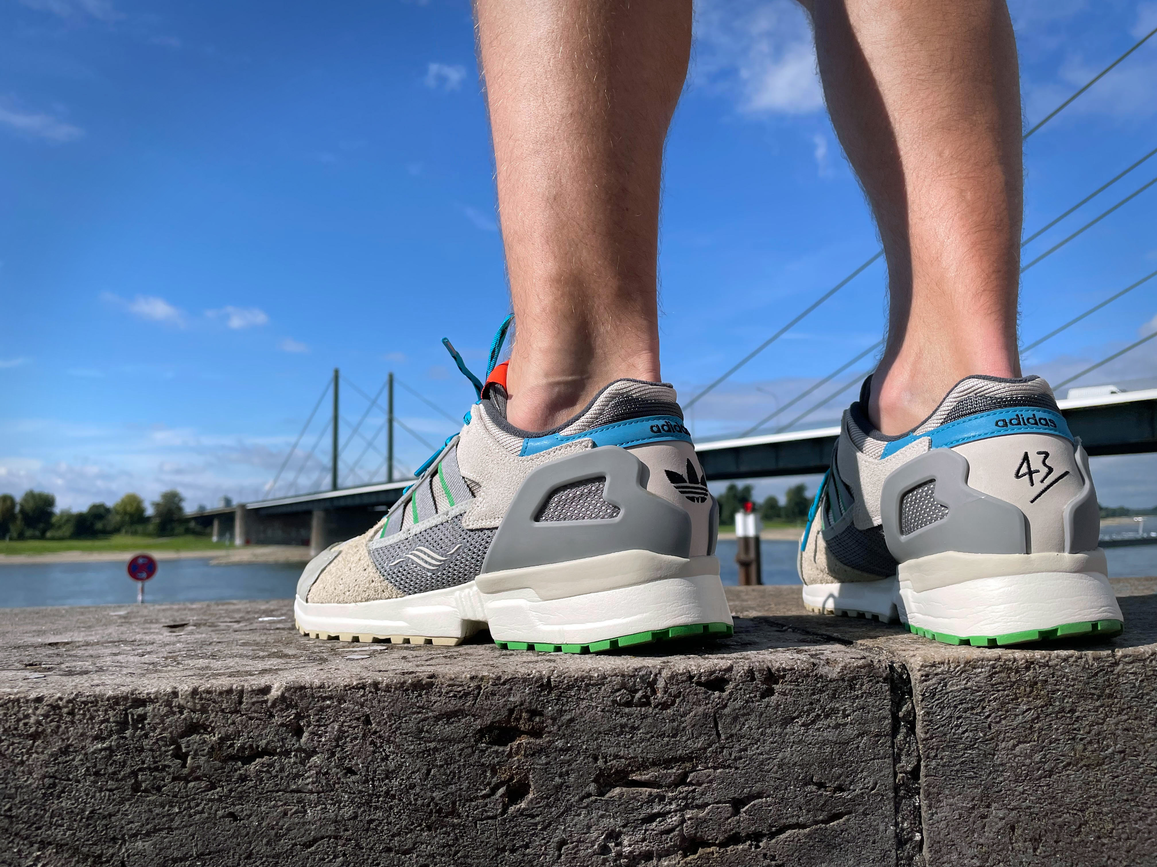 """on feet photo of the adidas x 43einhalb - ZX10000- """"Joint Path"""" - cbrown/owhite/clback - GY5108"""