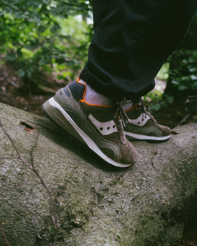 "on feet photo - Saucony - Shadow 6000 - ""DestinationUnknown"" - olive/orange - S70587-1"
