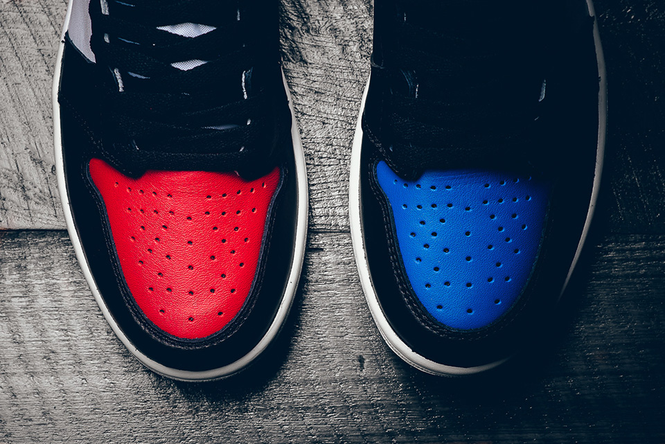 "toe box details - Nike - Air Jordan 1 Retro - ""Top 3 Pick"" - black/varsity red/varsity royal - 555088-026"