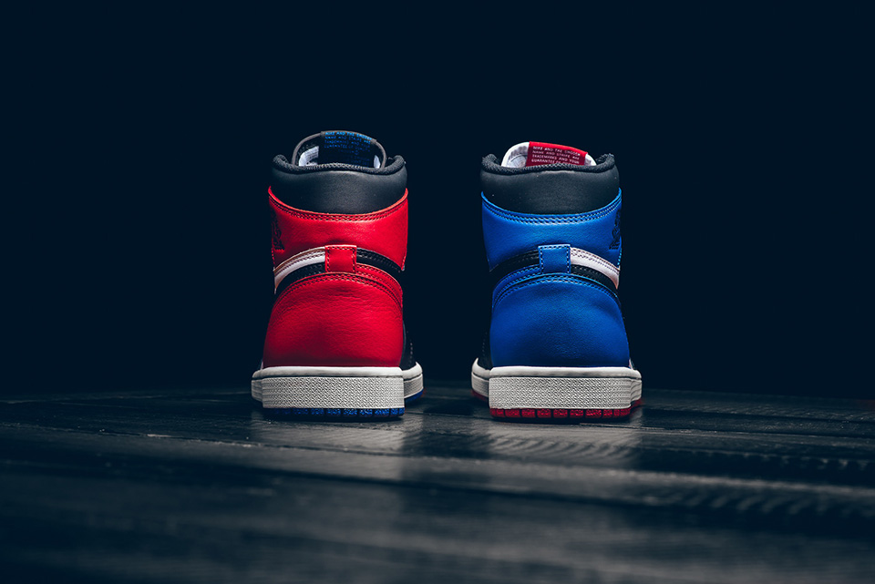 "heel details - Nike - Air Jordan 1 Retro - ""Top 3 Pick"" - black/varsity red/varsity royal - 555088-026"