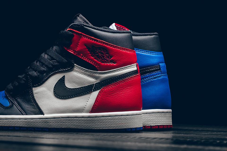 "left side panel - Nike - Air Jordan 1 Retro - ""Top 3 Pick"" - black/varsity red/varsity royal - 555088-026"