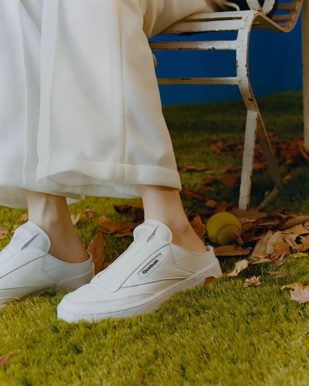 on feet - Reebok x BEAMS Club CLaceless Mule - white/white - GZ5319