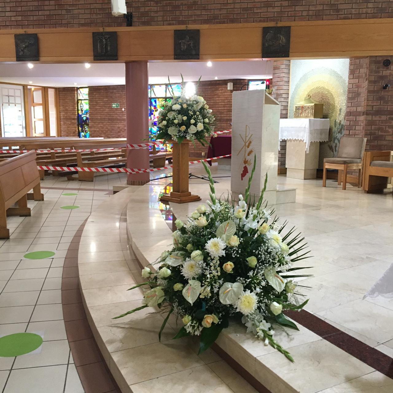 White church flower arrangement from