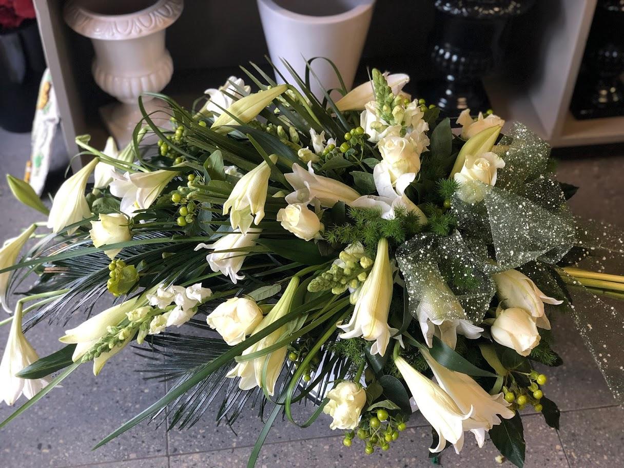 White flower sheath with St Joseph lilies