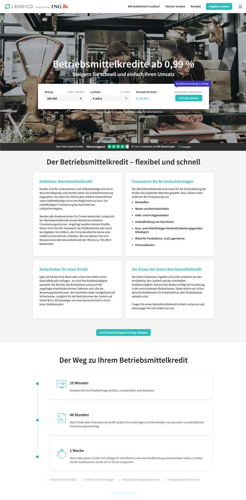 Betriebsmittelkredit Desktop - lendico.de