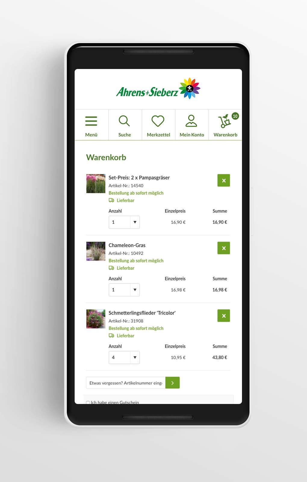 Warenkorb Mobile